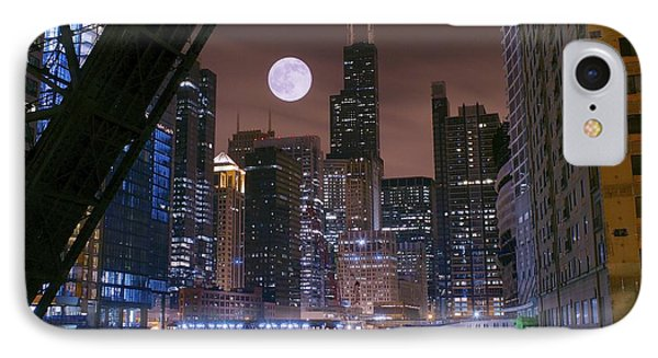 Moon Over Chicago IPhone Case by Frozen in Time Fine Art Photography