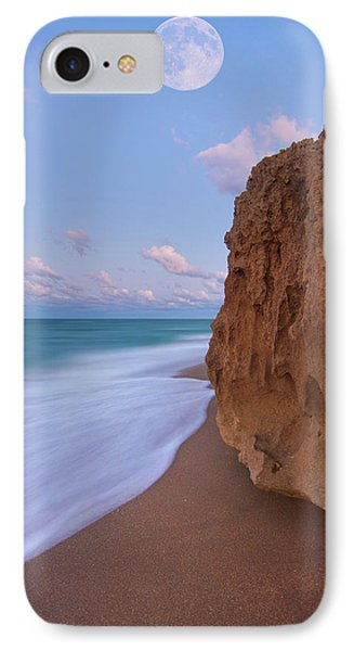 Moon Over Hutchinson Island Beach IPhone Case by Justin Kelefas