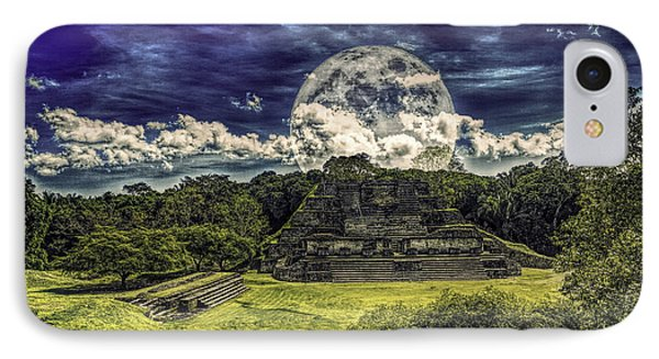 Moon Over Mayan Temple Two IPhone Case by Ken Frischkorn