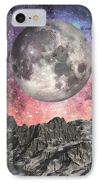 IPhone Case featuring the digital art Moon Over Mountain Lake by Phil Perkins