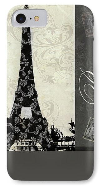 Moon Over Paris Postcard IPhone Case by Mindy Sommers