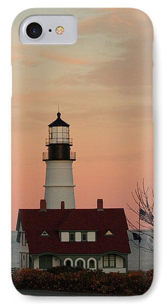 Moon Over Portland Head Lighthouse IPhone Case by Lou Ford