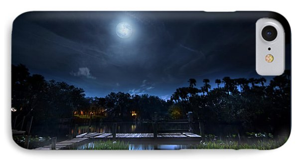 Moon Over The River IPhone Case by Mark Andrew Thomas