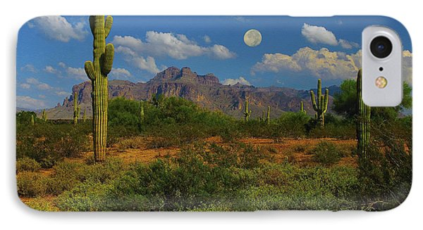 Moon Over The Superstition Mtn Phone Case by Brian Lambert