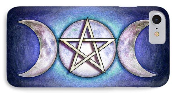Moon Pentagram - Tripple Moon 1 IPhone Case by Dirk Czarnota