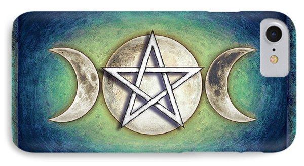 Moon Pentagram - Tripple Moon 2 IPhone Case by Dirk Czarnota