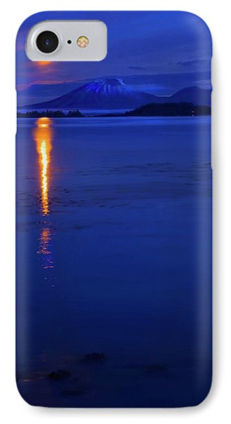 Moon Rise Over Mt. Edgecumbe Phone Case by Mike  Dawson