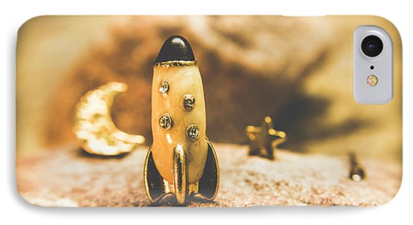 Moon Rocket At Space Station On The Dark Side IPhone Case by Jorgo Photography - Wall Art Gallery