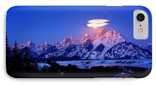 Moon Sets At The Snake River Overlook In The Tetons IPhone Case