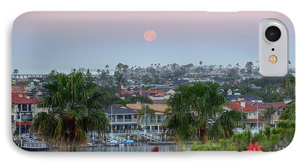 IPhone Case featuring the photograph Full Moon Setting In Corona Del Mar by Eddie Yerkish