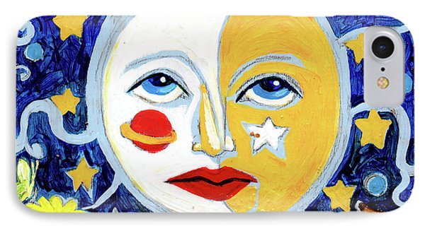 IPhone Case featuring the painting Moonface With Wolf And Stars by Genevieve Esson