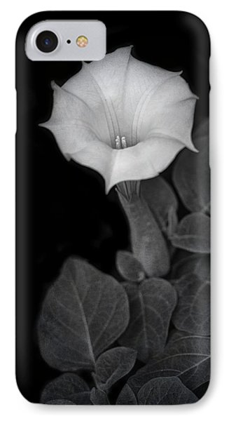 Moonflower - Black And White IPhone Case by Nikolyn McDonald