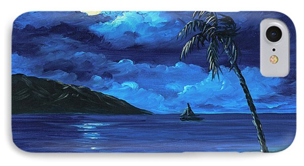 IPhone Case featuring the painting Moonligh Sail by Darice Machel McGuire