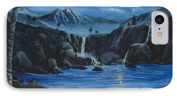 IPhone Case featuring the painting Moonlight And Waterfalls by Darice Machel McGuire