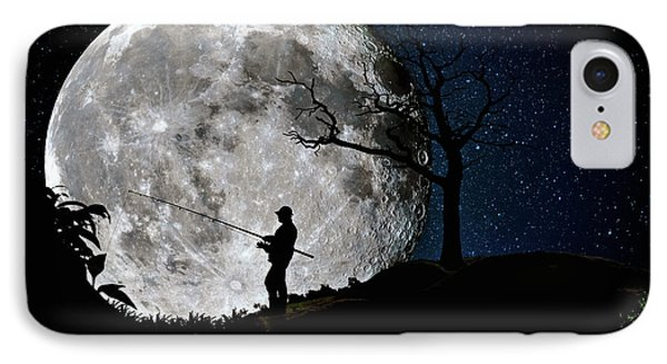 Moonlight Fishing Under The Supermoon At Night IPhone Case by Justin Kelefas