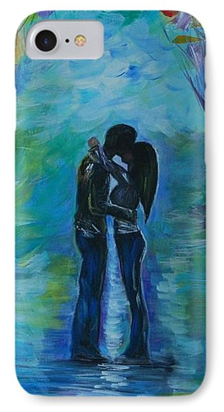 IPhone Case featuring the painting Moonlight Kiss Series 1 by Leslie Allen