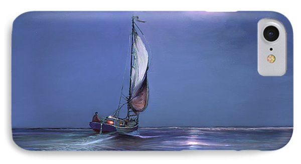 Moonlight Sailing IPhone Case by David  Van Hulst