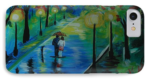 IPhone Case featuring the painting Moonlight Stroll by Leslie Allen