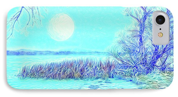 IPhone Case featuring the digital art Moonlit Lake In Blue - Boulder County Colorado by Joel Bruce Wallach