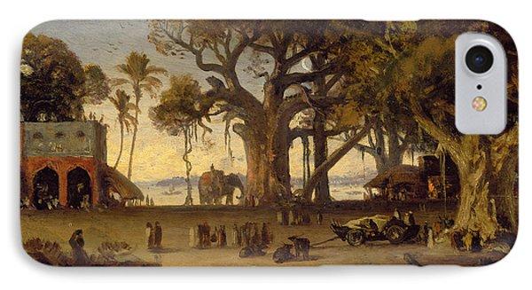 Moonlit Scene Of Indian Figures And Elephants Among Banyan Trees Phone Case by Johann Zoffany