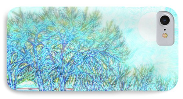 IPhone Case featuring the digital art Moonlit Winter Trees In Blue - Boulder County Colorado by Joel Bruce Wallach