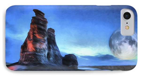 IPhone 7 Case featuring the digital art Moonrise Over Castle Rock by JC Findley