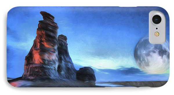 IPhone Case featuring the digital art Moonrise Over Castle Rock by JC Findley