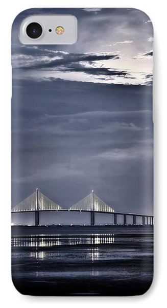 Moonrise Over Sunshine Skyway Bridge IPhone Case by Steven Sparks