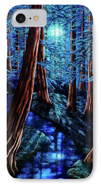 Moonrise Over The Los Altos Redwood Grove Phone Case by Laura Iverson