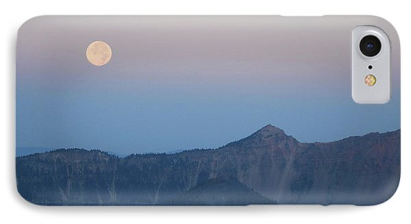 Moonset At Crater Lake IPhone Case