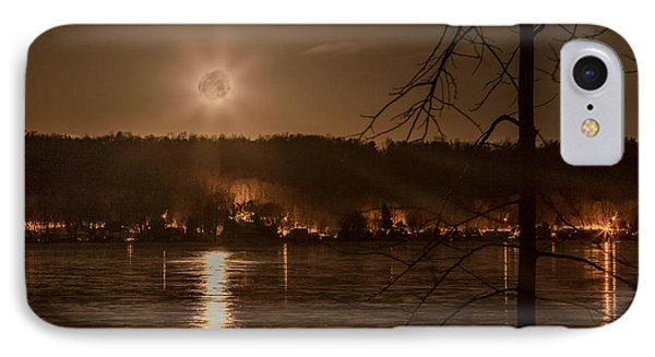 Moonset On Conesus IPhone Case by Richard Engelbrecht