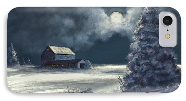 Moonshine On The Snow IPhone Case by Lois Bryan