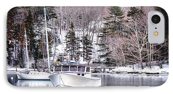 Moored Boats In Maine Winter  IPhone Case by Olivier Le Queinec