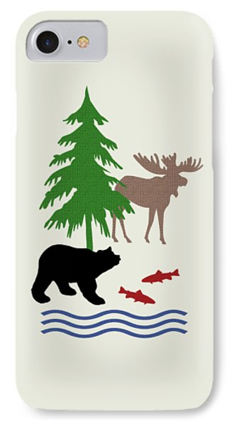 Moose And Bear Pattern Art IPhone 7 Case by Christina Rollo