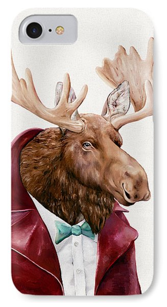 Moose In Maroon IPhone Case by Animal Crew