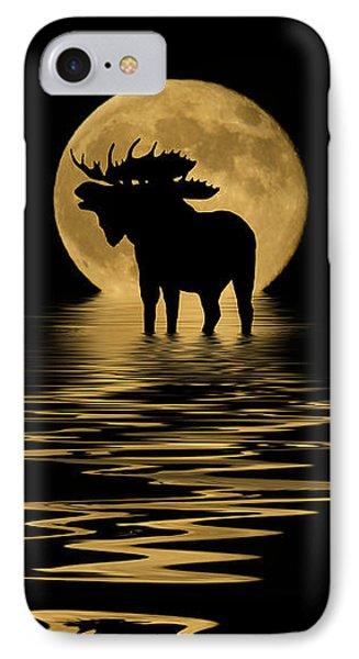 Moose In The Moonlight IPhone Case by Shane Bechler