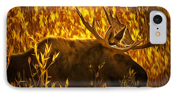 Moose In Willows IPhone Case by Mark Kiver
