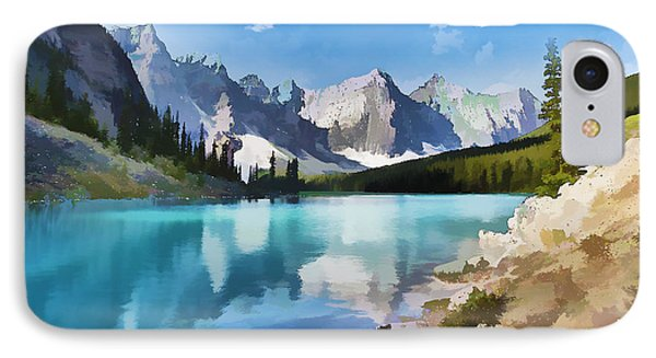 Moraine Lake At Banff National Park IPhone Case by Lanjee Chee