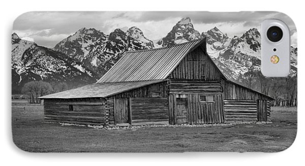 Mormon Homestead Barn Black And White IPhone Case by Adam Jewell
