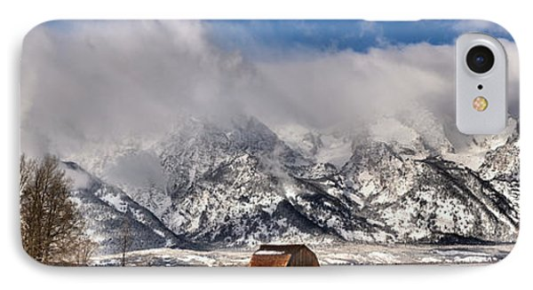IPhone Case featuring the photograph Mormon Row Early Winter Panorama by Adam Jewell