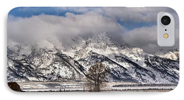IPhone Case featuring the photograph Mormon Row Snowy Extended Panorama by Adam Jewell