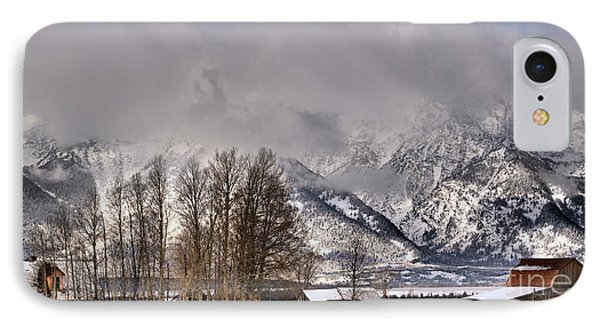 IPhone Case featuring the photograph Mormon Row Winter Morning Panorama by Adam Jewell