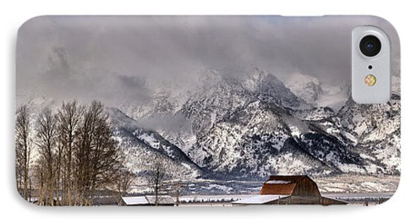 IPhone Case featuring the photograph Mormon Row Winter Panorama by Adam Jewell