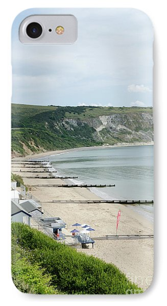 Morning Bay Pt Looking Up Swanage Bay On A Summer Morning Beach Scene Phone Case by Andy Smy