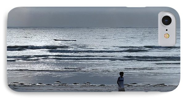 Morning Beach Walk On A Grey Day - Lone Dhow IPhone Case