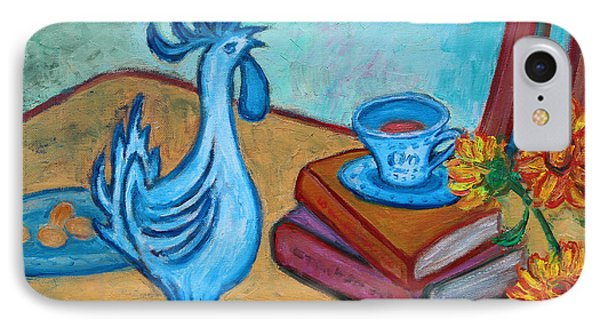 IPhone Case featuring the painting Morning Coffee Rooster by Xueling Zou