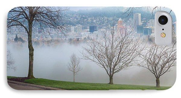 Morning Fog Over City Of Portland Skyline Phone Case by David Gn