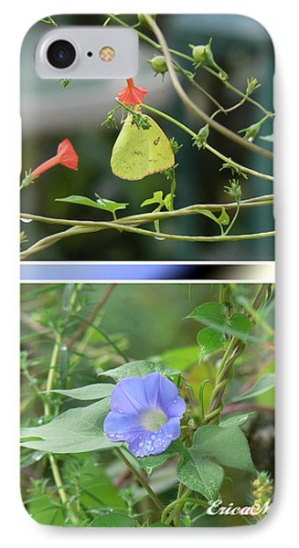 Morning Glories And Butterfly IPhone Case by EricaMaxine  Price