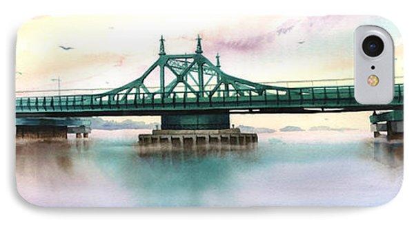 Morning Mist City Island Bridge Phone Case by Marguerite Chadwick-Juner