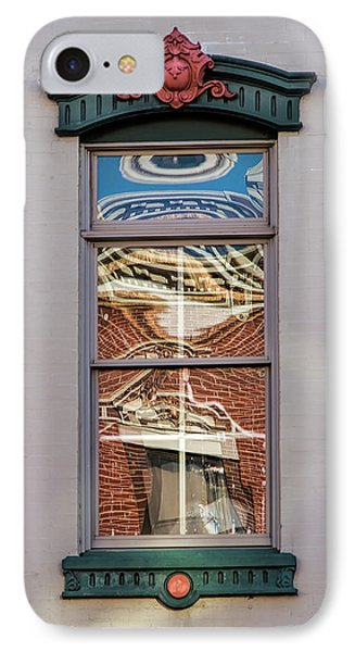 IPhone Case featuring the photograph Morning Reflection In Window by Gary Slawsky